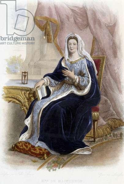 """Francoise d'Aubigne, Marquise (Madame) de Maintenon, French Lady (1635-1719) - in """"Le Plutarque francais"""", Ed. Mennechet, 1844-1847"""