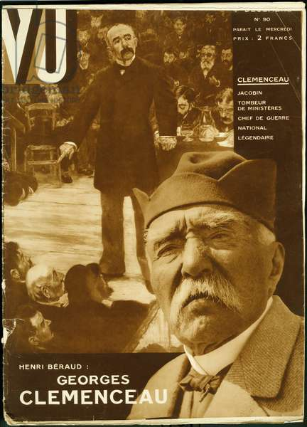 """George Clemenceau (1841-1929), a French journalist and politician, a great figure in the third republic at the head of radical republicans and the extreme left opposition, nicknamed the """"tiger"""", knocked down several governments or pushed ministers to half (1881 and 1882), from 1894 to 1906 he took the side of dreyfusards, as editor in the newspaper """"L'aurore"""" and found the title """"J'accuse"""" for Emile Zola's famous article; in 1906, minister of the interior and president of the council, he set up the foundations of a true scientific police, then he was called to the head of the government in 1917, in the midst of the war of 1914-1918, he showed himself an authoritarian warlord and intransigent and enjoys great popularity in both military and civilian circles. Photograph for the cover of the weekly VU, director Lucien Vogel (1886-1954), number 78, date 11/9/1929. Selva Collection."""