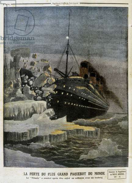 """The loss of the world's largest liner (the Titanic) - in """""""" The Petity Journal"""""""" of 28/04/1912"""