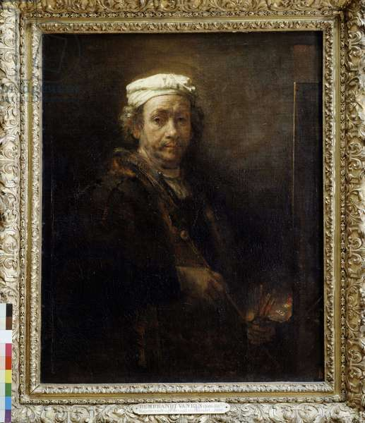 Rembrandt aged in front of an easel (1660).