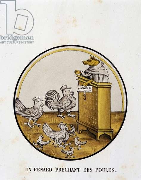 A fox prechant of hens (renart novel) - religious caricature, Limoges, 17th century