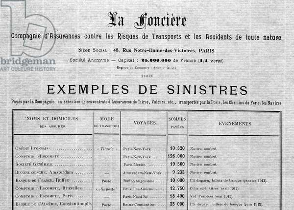 Letter from La Foncière, Compagnie d'assurance du Titanic, specifying the sum paid to the shipwreck