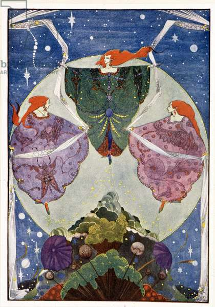 """Fairies:"""""""" They danced with shawls which were woven of mist and moonshine"""""""": The elf-hill - in """""""" Fairy Tales"""""""" by Hans Christian Andersen, ill. by Harry Clarke"""