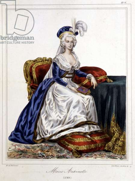 """Portrait of Marie Antoinette (1755-1793), Archduchess of Austria and Queen of France - in """""""" Collection of costumes, weapons and furniture to serve in the history of the French Revolution and the Empire"""""""" by Horace de Viel-Castel n.d., 19th century"""