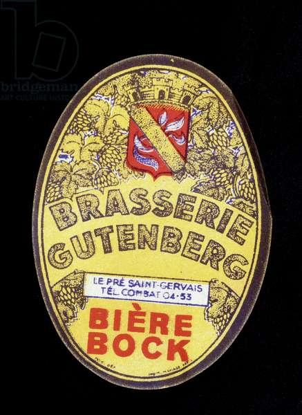 Advertising label for Gutenberg Beer
