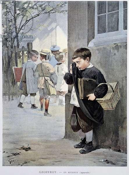 """In restraint - watercolour by Geoffroy in """""""" Le Figaro Illustré"""""""""""", May 1901"""