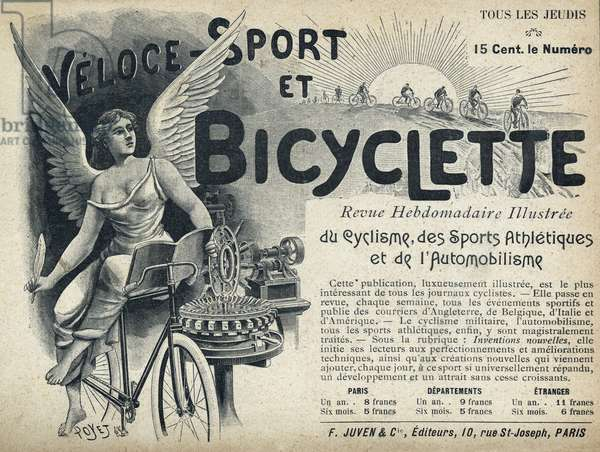 """Veloce-Sport et Bicycle, in the illustrated weekly magazine of cycling, athletic sports and motorism. Publication in """"Tales de Pantruche et d'ailleurs"""" by Tristan Bernard, Petite Collection du """""""" Rire"""", F. Juven & Compagnie, Paris, 1897."""
