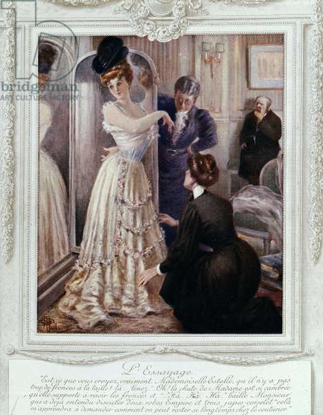 Fitting scene at the couturier, by Albert Guillaume (1873-1942), ca. 1895