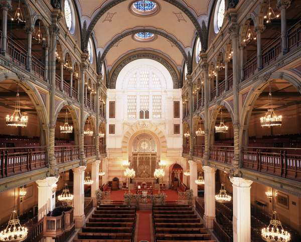 Interior of the Synagogue of Rue des Tournelles built in 1866 - 1867. Architect: Varrollier. Engineer: Gustave Eiffel in Paris.