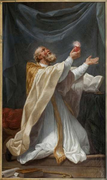 Saint Augustine in ecstasy with his heart ignites. Painting by Charles Andre Van Loo, dit Carle Vanloo (1705-1765), oil on canvas, circa 1750, French art. Museum of Fine Arts in Angers.