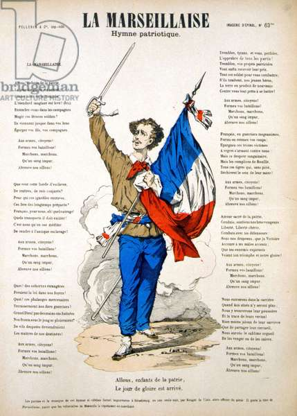 "Lyrics to """" La Marseillaise"". Image of Epinal, 19th century."