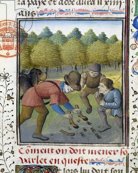"""Hunters and Hunting Dog - in """""""" Hunting Book of Gaston Phoebus, Count of Foix, Lord of Béarn"""""""", 14th century"""
