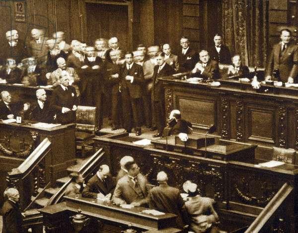 """In the Reichstag: Hermann Wilhelm Goring (or Goering, 1893-1946) refuses to speak to Von Papen - in """""""" Vu"""""""""""" 21/09/1932"""