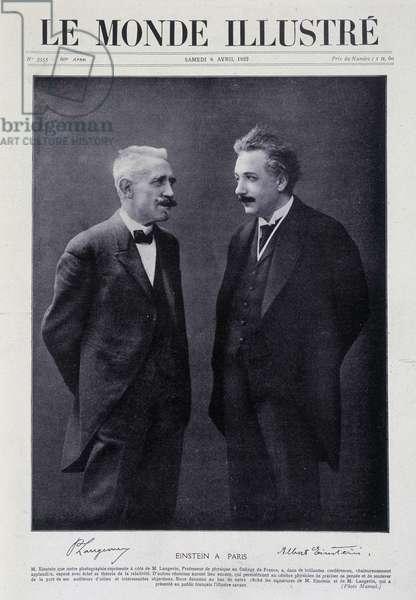 """Einstein in in Paris: Albert Einstein and M. Langevin - in """""""" Le Monde Illustré"""""""" from 08/04/1922"""