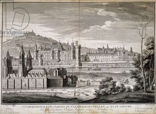 Meridional view of the abbey of Saint Germain des Pres and the Louvre in 1410 - engraving, 18th century