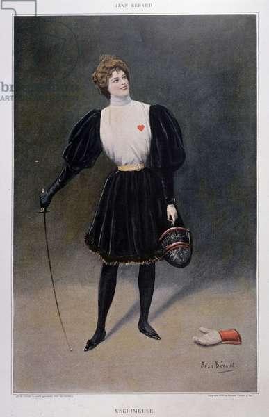 Fescrimeuse - drawing by Jean Beraud (1849 - 1935), 1896, Musee Carnavalet.