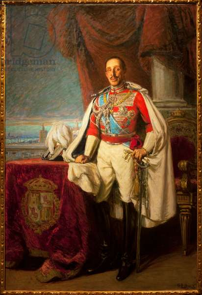 Alfonso XIII of Spain - Portrait of Alfonse XIII - Painting by Gonzalo Bilbao Martinez (1860-1938), oil on canvas, 1929 - Museum of Fine Arts of Seville, Spain