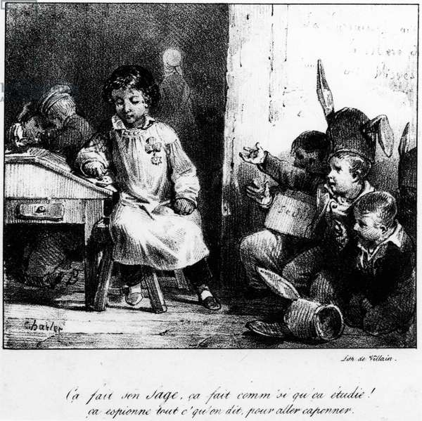 Cartoon about school: students in a classroom, some working, others punished and around the corner.