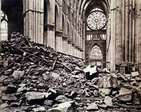 Inside Reims Cathedral after its bombing and fire, 1915 (b/w photo)