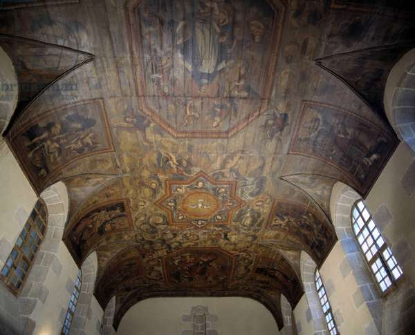 Ceiling of the former Dominican Convent (hospital) (1664). 17th century painting. Dinan, Cotes d'Armor (Cotes-d'Armor) (22).