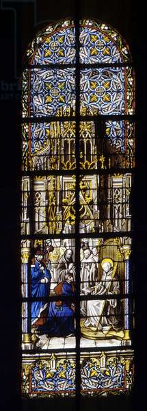 The Sacred Father of Saint Vincent de Laon, Anselm by Eugene III, to make him the bishop of Tournai. Stained glass at the Cathedrale de Tournai: Transept left (6).