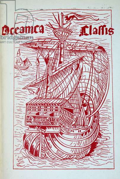 """Caravel of Christopher Columbus (Cristoforo Colombo) - in """""""" Discovering Christopher Colombus"""""""" by Charlotte Brewster Jordan, Macmillian Company, N.Y., 1932."""