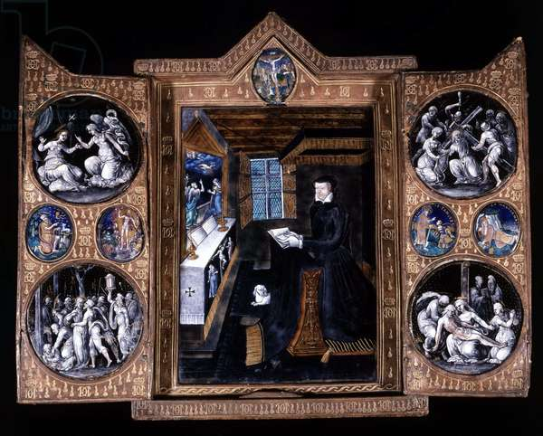 Catherine de Medicis (Caterina de Medici) (1519-1589) in prayer - triptych email and leather, 16th century.