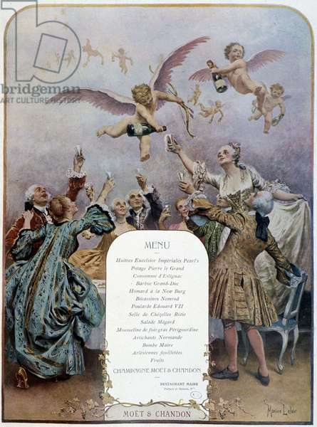 """Angels pouring champagne and festive menu - advertising poster """"Moët et Chandon"""""""", 1918."""