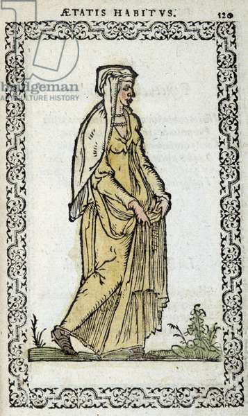 "Roman Woman - in """" Habits et effigies"""" by Jean Slupérino, 1572"