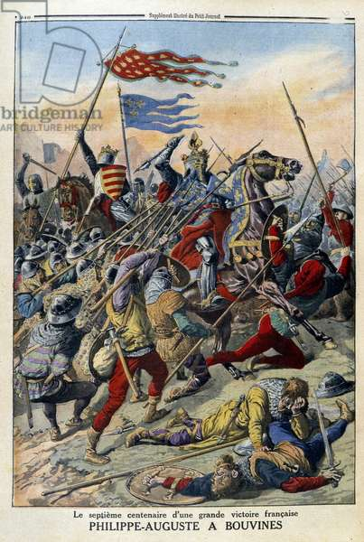 """Philippe-Auguste in Bouvines: the seventh centenary of a great French victory - in """""""" Le Petité Journal"""", 1914"""