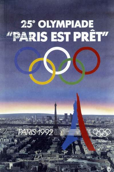 View of Paris and the Eiffel Tower: poster for the 25th Olympic Games in Paris in 1992.