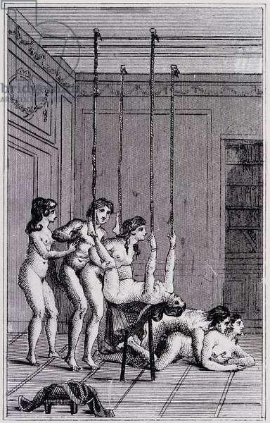 """Erotic scene - in """"La Nouvelle Justine ou les Malheurs de la vertu"""" by Donatien Alphonse François de Sade (1740-1814), better known as Marquis de Sade, Dutch edition of 1789"""