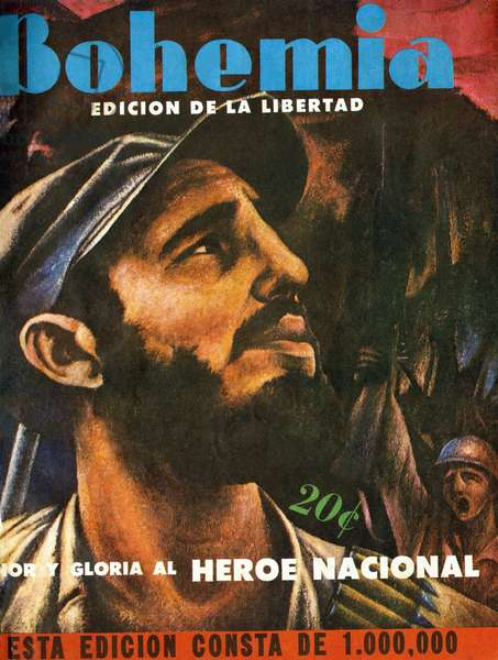 "Portrait of Fidel Castro (born in 1926), one of the main instigators of the Cuban Communist Revolution in 1959. Cover, in """" Bohemia"""", January 11, 1959, Cuba."