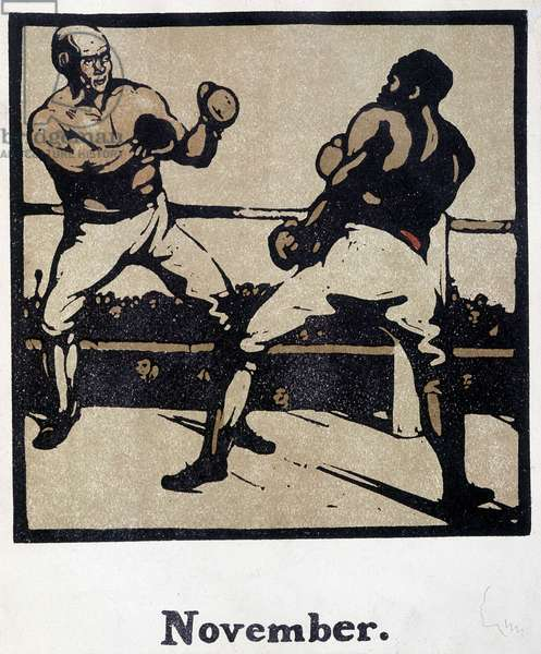 Boxing Scene - Engraving by William Nicholson (1872-1949) for calendars: November 1898