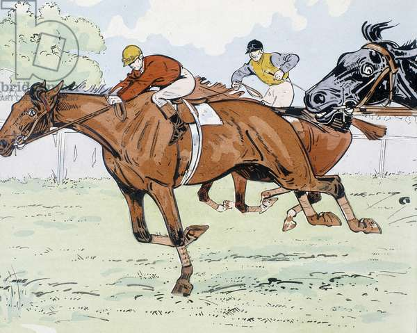 Racing horses - drawing by Thelem