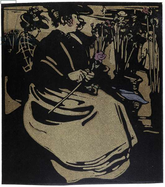 "Flower Merchant, London in """" Types of London"""", by William Nicholson (1872-1949), 1898"