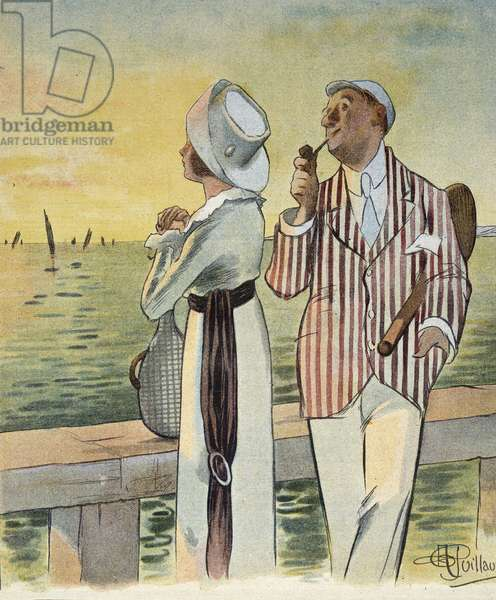"""Flirt at dusk - drawing by Albert Guillaume (1873-1942), in """""""" Le Rire"""""""", August 1912"""