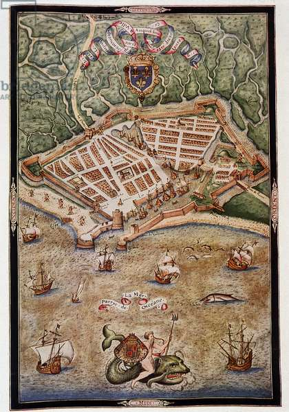 View of the port of Le Havre in 1583 - from an illuminated manuscript by Jacques Delvaux, pilot of the Navy, dedicated to Admiral de Joyeuse, 1583.