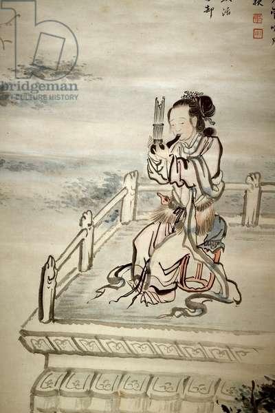 Painted figure, musician. Ink on paper by Yi Jaegwan (1783-1837), art coreen 19th century. National Museum of Korea, Seoul (South Korea).