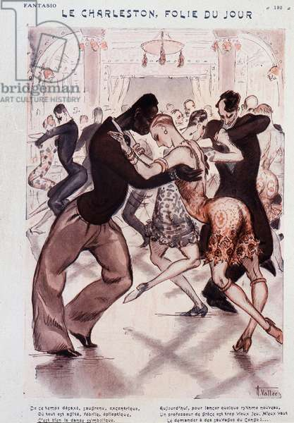 "The Charleston, Madness of the Day - Racist cartoon about the dancers of Charleston: ""Today to launch some new rhythm, a teacher of grace is too old game, better to ask for it from the savages of Congo"""" - drawing by Armand Vallee (1884-1960), in """" Fantasio"""""" of 01/11/1926"