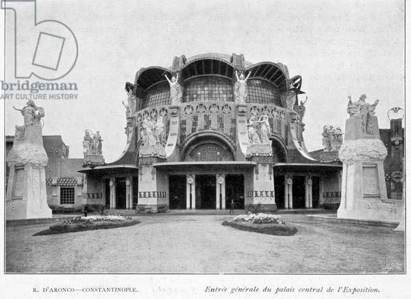 Main entrance to the central palace by the architect of Aronco, International Exhibition of Modern Decorative Arts in Turin 1902.