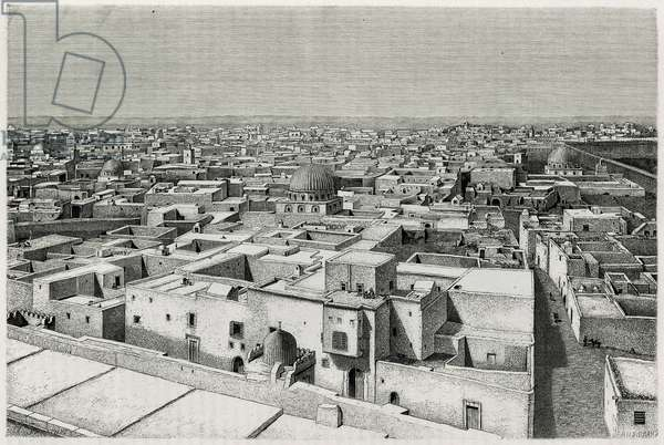 "General view of Kairouan. Engraving by H.Saladin to illustrate the story """" le voyage en Tunisie"""", by Rene Cagnat (1852-1937), historian and Henri Saladin (1851-1923), architect, charged with an archeological mission by the Ministry of Public Education. Published in Le Tour du monde, nouveau journal des voyages, 1er semester 1885, edited by Edouard Charton (1807-1890), edition Hachette, Paris."