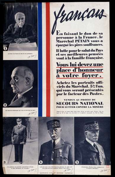Advertising poster for the sale of portraits of Marshal Philippe Petain during the Second World War and praising Petain (sold for the benefit of national relief to combat poverty)
