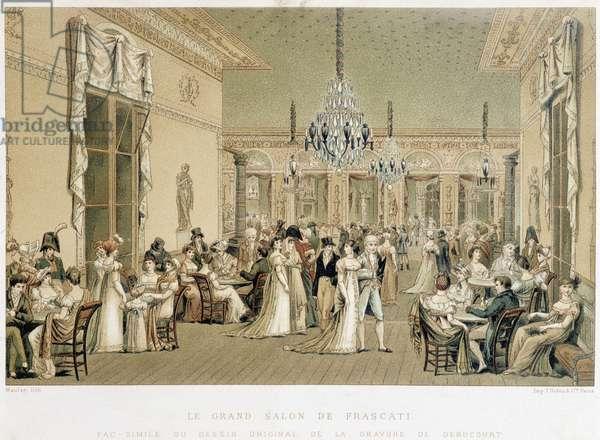 The Grand Salon du cafe Frascati in Paris. Lithograph by Philibert-Louis Debucourt (1755-1832), 1807. Paris, Library of Decorative Arts