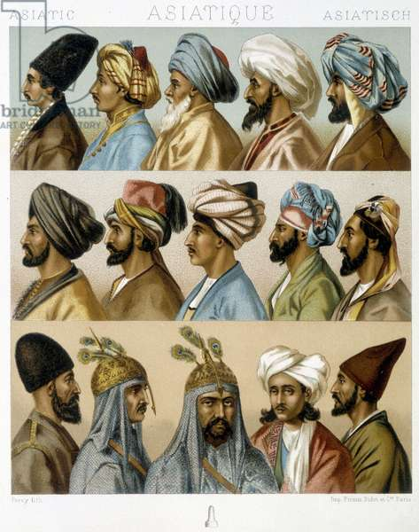 "Asian male hairstyles - in """" The historical costume"""" by Racinet, late 19th century"