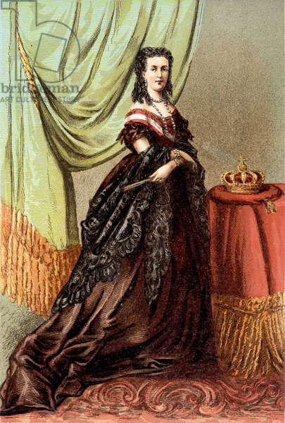 Portrait of Queen Mary Henriette of Austria, wife of Leopold II, King of the Belgians.