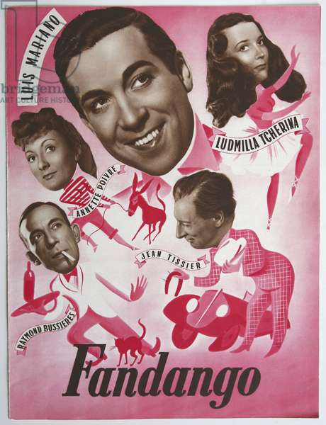 Fandango, musical directed by Emile Edwin Reinert in 1948, starring Luis Mariano, Ludmilla Tcherina, Jean Tissier, Annette Poivre and Raymond Bussieres. Film poster, film released in France in 1948.