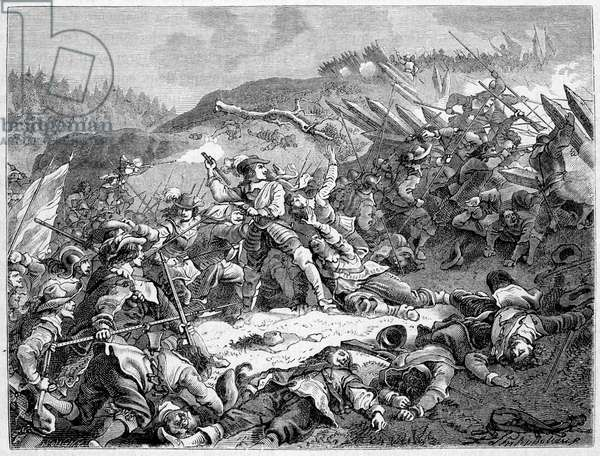 Louis II of Bourbon, Prince of Conde (Bourbon-Conde) (Grand Conde) (1621-1686) at the Battle of Fribourg (1644).