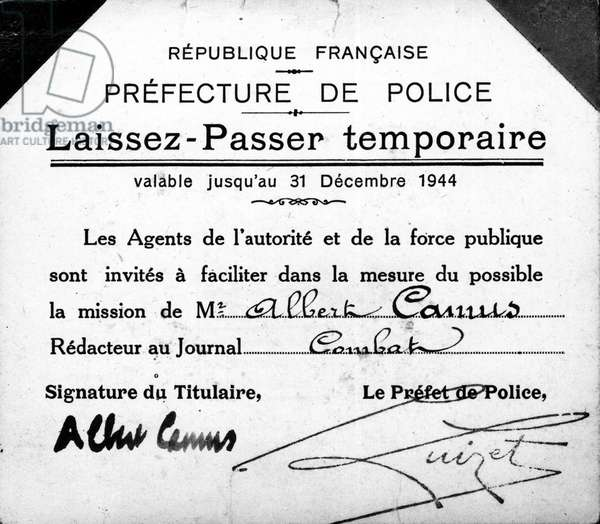 Albert Camus temporary pass, valid until December 31, 1944.