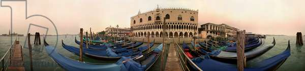 The gondolas in front of the Doge's Palace, Venice. Panoramic 360 degrees by Leonard de Selva, Italy, 1999.